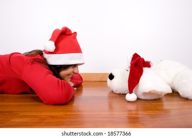 young woman celebrating christmas holidays