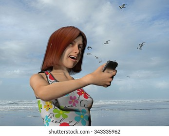 young woman with a cell phone at the beach