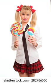 young woman characterized school girl with lollipop