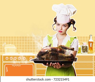 Young woman chef overlooked roast chicken.Yellow kitchen background