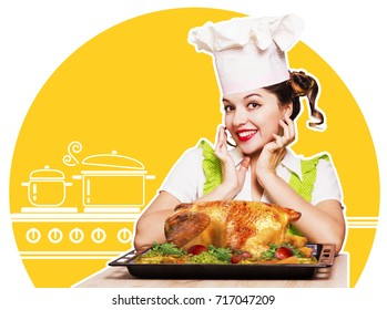 Young woman chef and roasted chicken.Collage kitchen background for design
