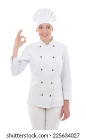 young woman chef  showing ok sign isolated on white background