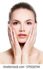 Young Woman with Clean Skin Touching her Hand Her Face. Beauty, Facial Treatment and Cosmetology