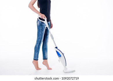 Young woman cleaning floor with modern steam cleaner. Isolated image on white.