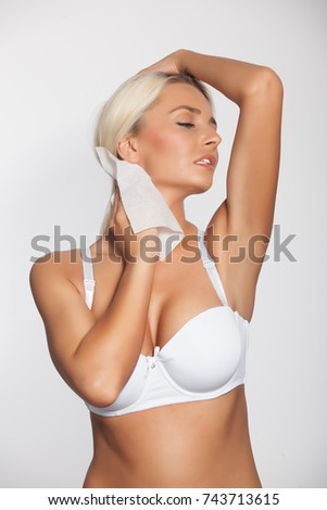 Young Woman Cleaning Neck Wet Wipes Stock Photo (Edit Now) 743713615 ... e3c8b31a9