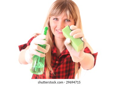 Young woman with cleaning supplies isolated on white