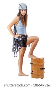 young woman in climbing equipment isolated in white