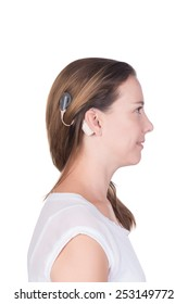 Young woman with cochlear implant close up