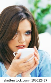 Young woman coffee portrait. Girl  Drinking coffee