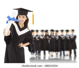young woman college graduate with students