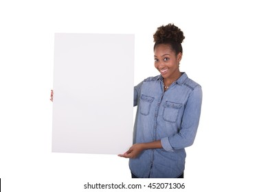Young woman or college student holding a poster board for an advertisement