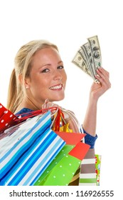 a young woman comes back with lots of shopping bags from shopping. with american dollars