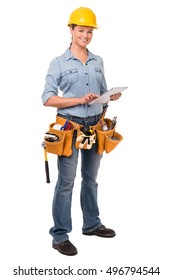 Young Woman Construction Worker with Digital Tablet on White