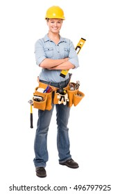 Young Woman Construction Worker on White
