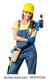 Young Woman Contractor Construction Carpenter with Drill on White