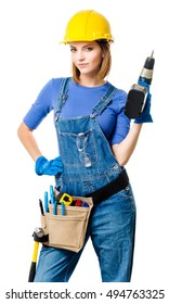 Young Woman Contractor Construction Carpenter on White