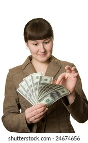 young woman is counting money over white