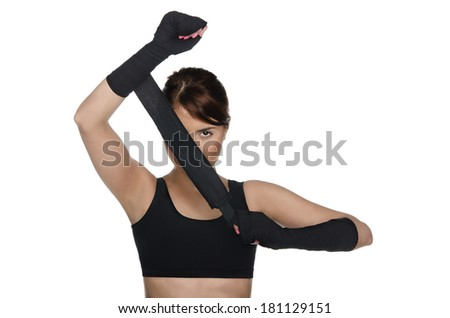 Young Woman Covering One Eye Boxing Stock Photo Edit Now