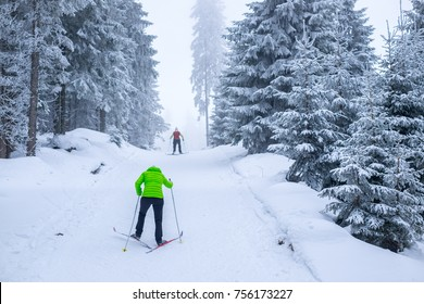 Young woman is cross-country skiing. Active winter. Active recreation. Amateur sport.