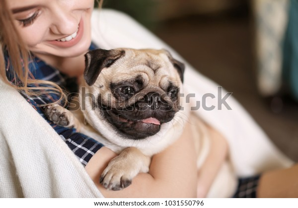 家でかわいいパグ犬を飼っている若い女性。ペットの里親募集