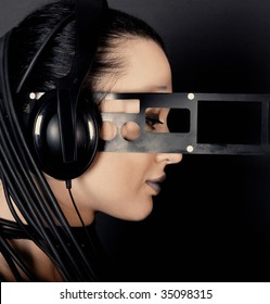 Young woman cyber style with headphones