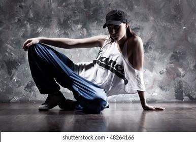 Young woman dancer. Dance inscription on t-shirt.