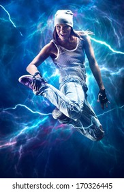 Young woman dancer jumping. With special lightning effect.