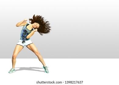A young woman dancing aerobics or fitness dance
