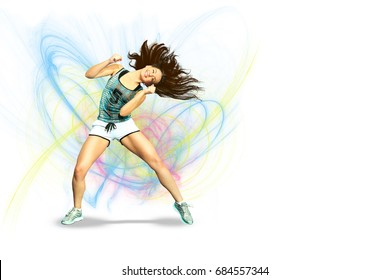 A young woman dancing aerobics or fitness or zumba dance