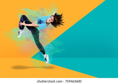a young woman dancing at fitness or zumba exercise