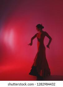 Young woman dancing flamenco