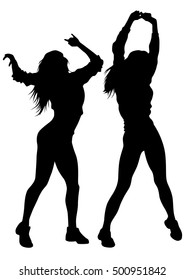 Young woman dancing on a white background