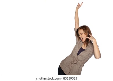 Young woman dancing and posing