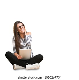 Young Woman With Digital Tablet against a white background