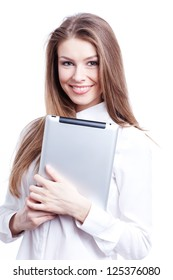 Young woman with digital tablet computer PC isolated on white background wearing white business shirt
