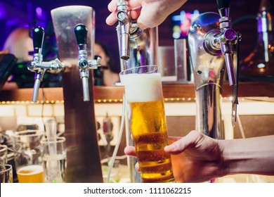 Young woman dispensing beer in bar from metal spigots. Beautiful female bartender tapping beer in bar.
