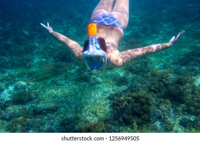 Young woman diving undersea. Snorkel in coral reef of tropical sea. Woman in full-face snorkeling mask. Underwater photo of coral reef landscape. Summer vacation on tropical island. Seaside activity