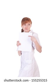 Young woman doctor is holding blank paper