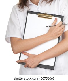 young woman doctor in white uniform keeping  clipboard and pen