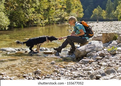 Young woman with dog on a sunny day hiking