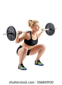 Young woman doing barbell squats on white backgorund