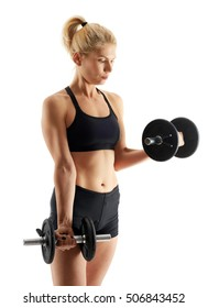 Young woman doing biceps curl with dumbbells isolated on white