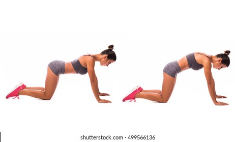 young woman doing exercise Cat Stretch