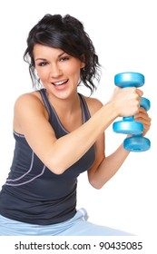 Young woman doing exercise with dumb bell, strengthen her arms and shoulders , isolated on white background