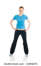 The young woman doing exercise isolated on a white background