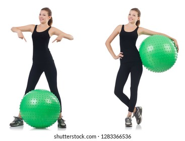 Young woman doing exercises with fitball