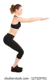 Young woman doing fitness exercises isolated on white