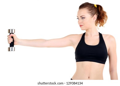 Young woman doing fitness exercises with dumbbell isolated on white