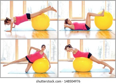 Young  woman doing fitness exercises with fit ball