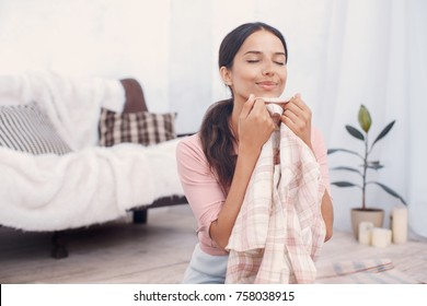 Young woman doing household duties housework concept